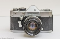 Petri Penta V6 35mm camera - front view with lens