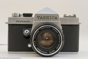 Yashica Pentamatic 35mm slr front view with lens stopped down