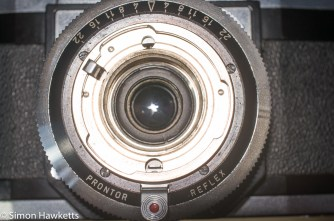 Zeiss Ikon Contaflex alpha - front lens element removed waiting trim removal
