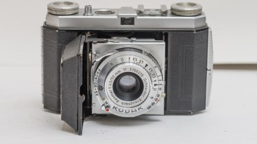 Kodak Retinette Type 017 35mm folding camera - front view with lens released