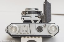 Kodak Retinette Type 017 35mm folding camera - top view showing controls and lens released