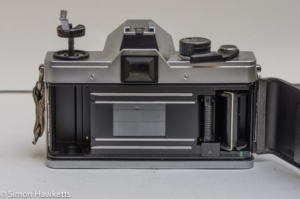 Praktica MTL 5B 35mm slr camera - rear view with film chamber open showing verticle focal plane shutter