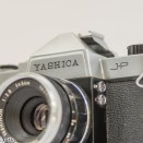 Yashica J-P 35mm slr camera - front view showing sync sockets