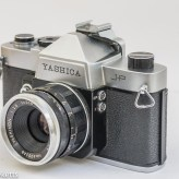 Yashica J-P 35mm slr camera - side view showing the flash sync sockets