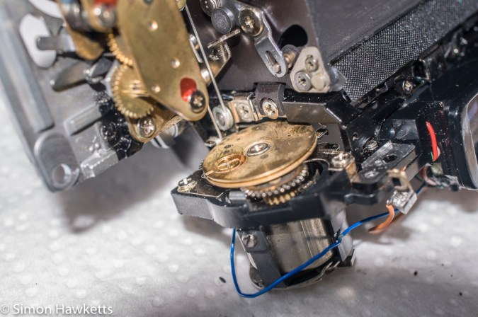 Olympus OM-1n re-assembly - the exposure metering cord wraps round this drum