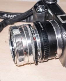 Topcon UV lens mount adapter - lens fitted to Sony Nex 6