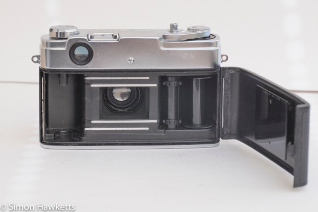 Yashica J 35mm rangefinder camera showing film chamber