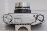 Yashica J 35mm rangefinder camera showing top of camera