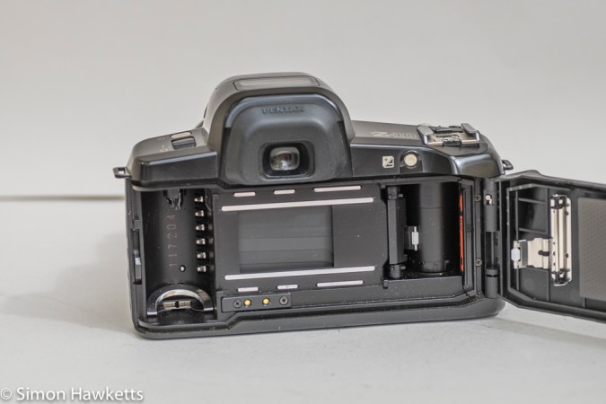 Pentax Z-10 35mm autofocus slr camera showing film chamber