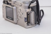 Fuji MX-2900 compact camera - data card door open showing smartmedia slot