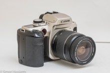 Canon EOS 50e 35mm autofocus camera - side view showing grip and shutter release