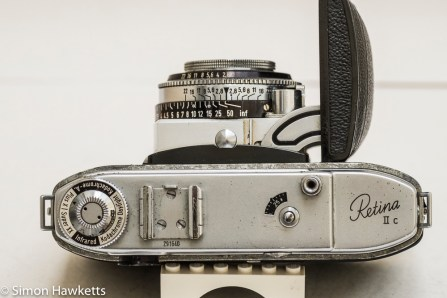 Kodak Retina IIc camera - top view showing frame counter, focus scale and film type reminder