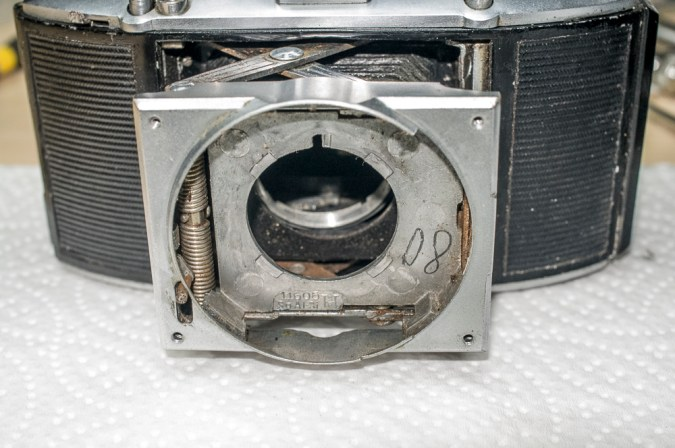 Agfa Karat front standard with shutter removed and trip fitted