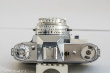 Kodak Retina Reflex III 35mm slr camera - top view showing light meter, film speed setting and film type reminder