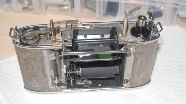 Kodak Retina Reflex S film advance re-assembly - ready for the serviced shutter to be fitted