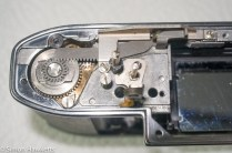Kodak Retina Reflex S film advance re-assembly - fitting the drive rack support