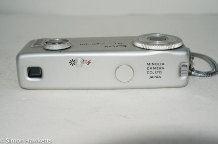 Minolta 16 MG miniature 16mm camera - back view showing viewfinder and shutter selector