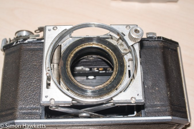 Agfa Karat 12 re-assembly - front standard re-fitted onto pop-out