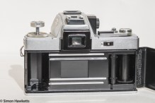 Ricoh TLS 401 35mm slr - rear view with film chamber open