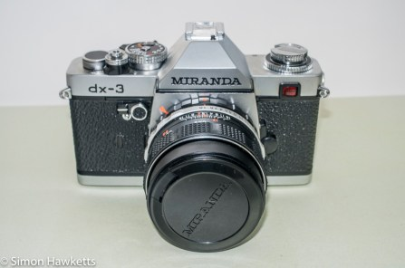 Miranda DX-3 35mm manual focus 35mm camera - front view with lens cap on