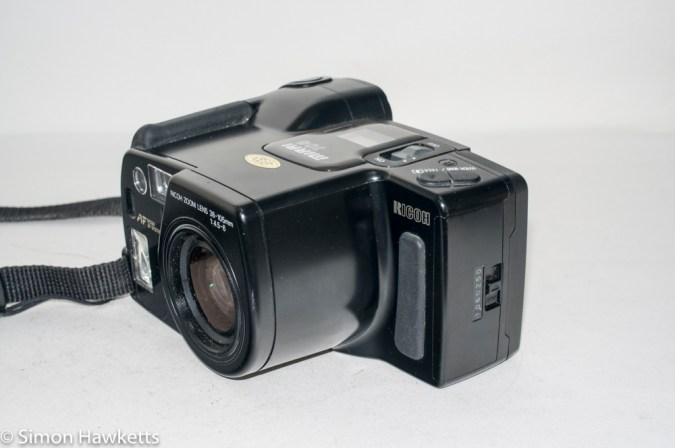 Ricoh Mirai 105 35mm slr camera - Side view showing film chamber door