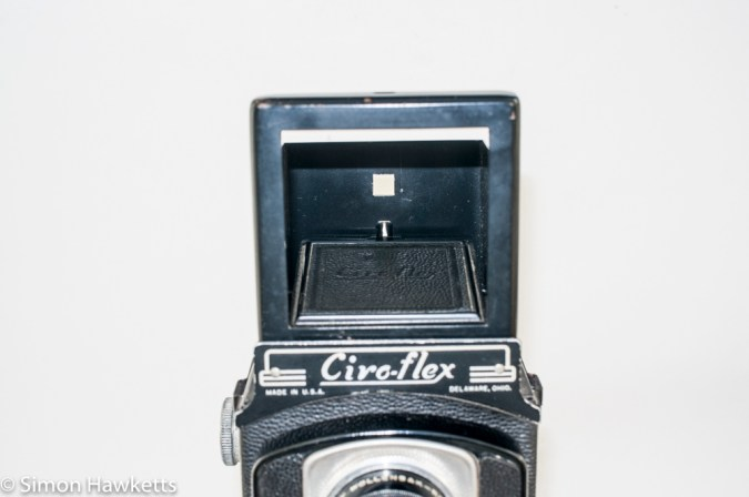Ciro-Flex medium format twin lens reflex camera - Front view showing sports finder