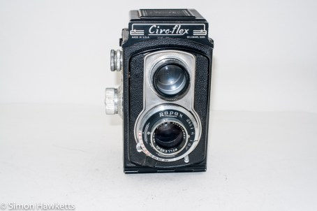 Ciro-Flex medium format twin lens reflex camera - Front view with viewfinder folded down
