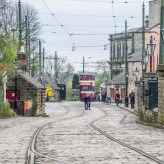 Crich tramway museum - the tram lines and overhead lines