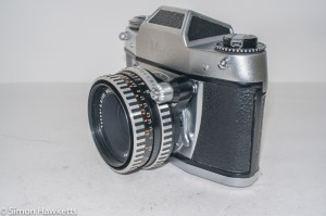 Ihagee Exa 500 35mm film camera - side view showing shutter release