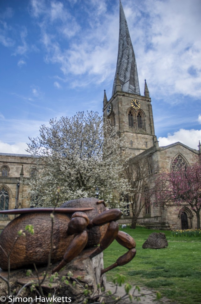 Pentax K5 and Sigma 18 - 125 HSM - Chesterfield church with large wooden bee