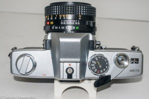 Minolta SRT101b 35mm slr camera - top cover showing control layout