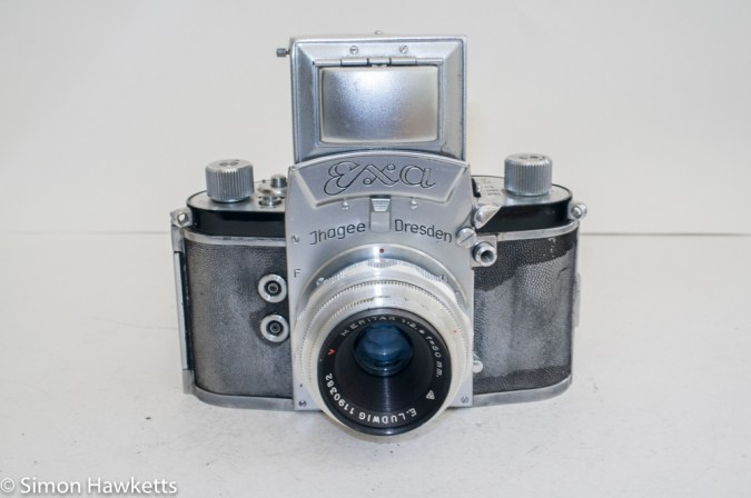 Exakta Exa version 4 - front view with viewfinder open