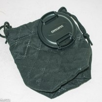 Samyang 12mm f/2 bag and lens cap
