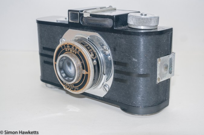 Argus A2F Viewfinder Camera - Side view with lens collapsed