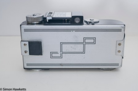 Argus A2F Viewfinder Camera - Rear cover with Art Deco Design