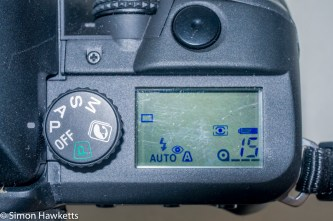 Minolta Dynax 60 SLR - Top panel LCD and mode switch