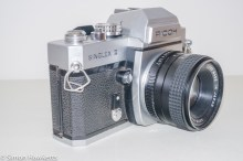 Ricoh Singlex II 35mm Camera - Side of camera showing metering button and self timer