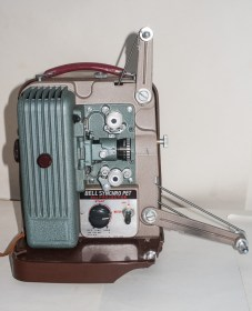 Picture of the Bell and Koon Synchro Pet 8mm projector with Projection arms unfolded
