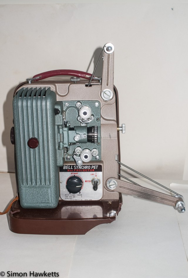 Picture of the Bell Synchro Pet 8mm projector with Projection arms unfolded