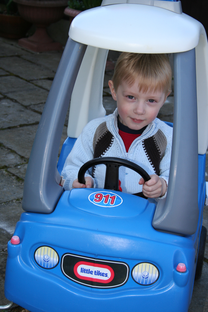 James in the Police car