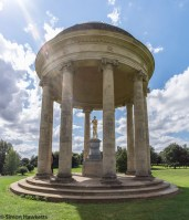 Fuji X-T1 at Stowe - a gold statue in a stone circular open pillared building