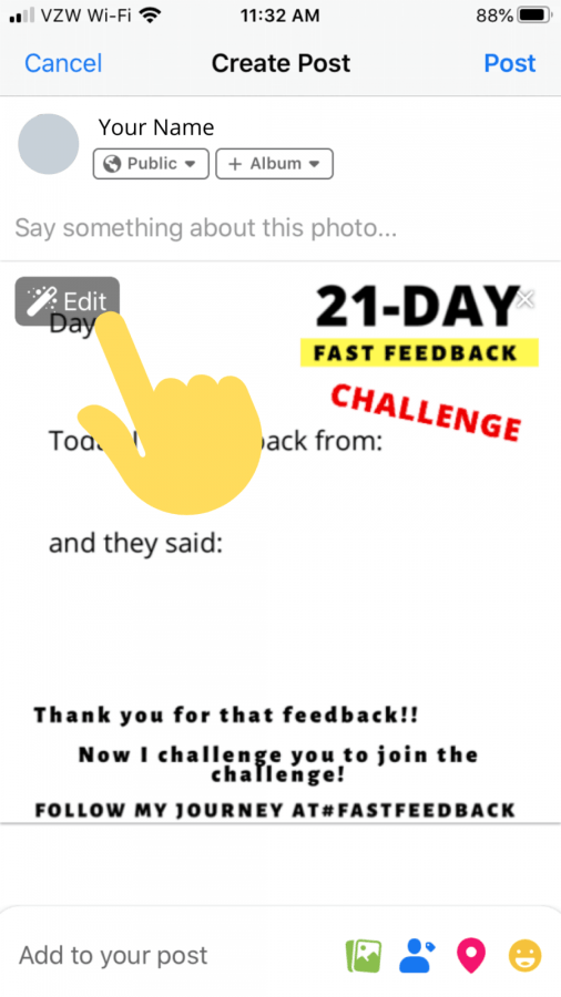how to share your 21-day feedback on facebook
