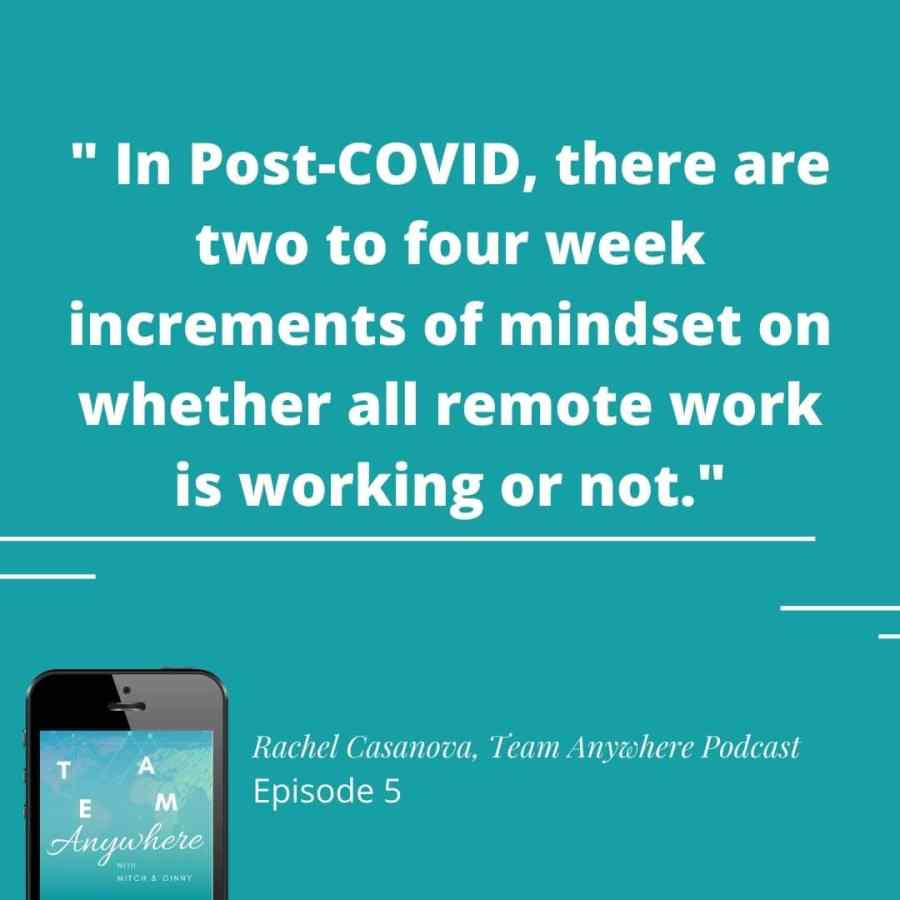 in post-COVID, there are two to four week increments of mindset on whether remote work is working or not quote, rachel casanova, team anywhere leadership podcast employee enagement