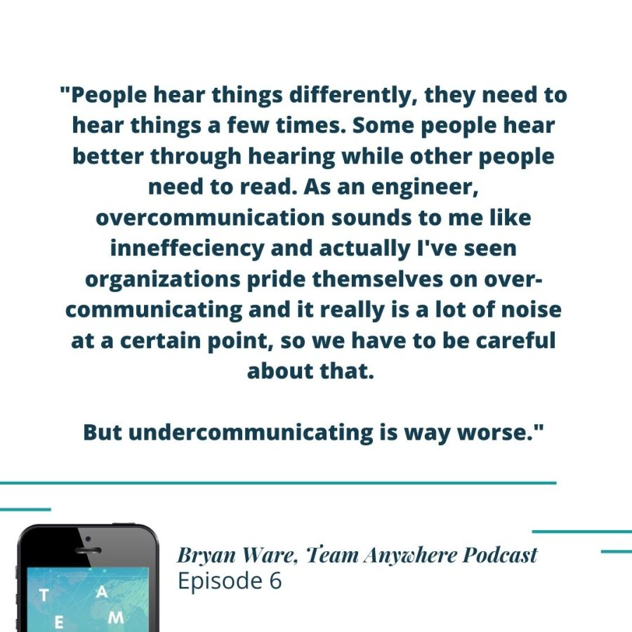 """""""people hear things differently, they need to hear things a few times. Some people hear better through hearing while other people need to read. As an engineer, overcommunication sounds to me like an inneffeciency and actually ive seen organizations pride themselves on over-communicatings and it really is a lot of noise at a certain point, so we have to be careful about that. But undercommunicating is way worse."""" Bryan Ware how-to-create-intentional-meetings-online-meetings-virtual-meetings-team-anywhere-leadership-podcast-43"""