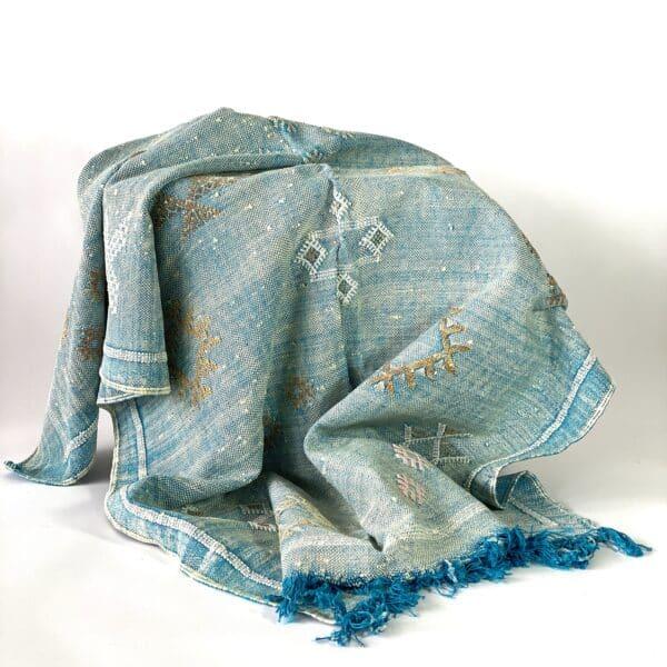 tapis en sabra bleu turquoise