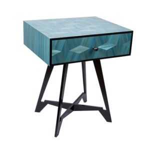 Cellini bedside table in straw marquetry