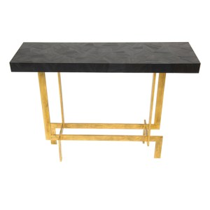 Kante console table with black straw marquetry top