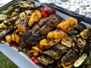 Roasted vegetables: portobello mushrooms, sweet red and yellow peppers, green and yellow summer squash and eggplan