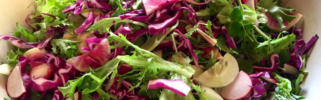 This greens salad is part of our Sample Dinner Party Catering Menu