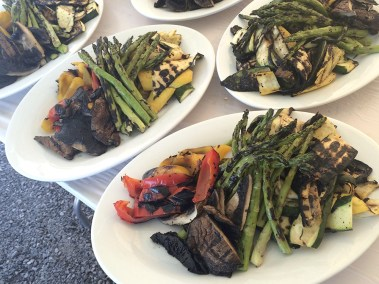 Grilled asparagus, red and yellow peppers, portobello mushrooms and green and yellow summer squash